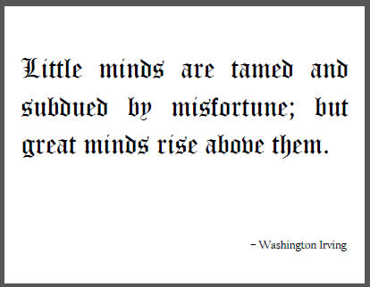 """""""Little minds are tamed and subdued by misfortune; but great minds rise above them,"""" Washington Irving."""