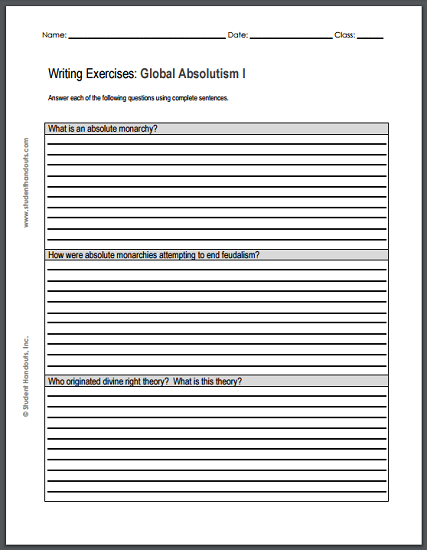 Absolute Monarchy Essay Questions Handouts - Free to print (PDF files) for high school World History students.