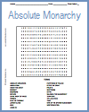Absolute Monarchy Word Search Puzzle