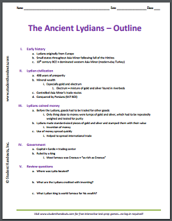 History of the Ancient Lydians - Free printable outline for high school World History and Global Studies.