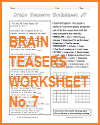 Brain Teasers Worksheet #7
