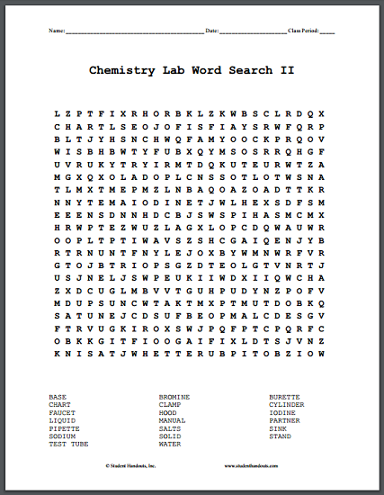 Chemistry Lab Word Search Puzzles - Free to print (PDF files).