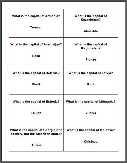 Collapse of Communism and the Soviet Union Review Game Cards - Free to print (PDF files).