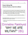 "Emmeline Pankhurst ""Why We Are Militant"" DBQ Worksheet"