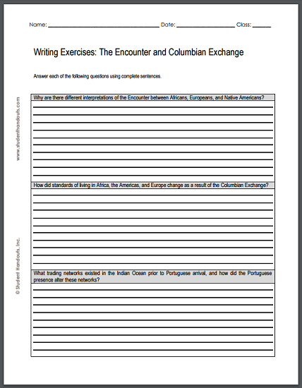 Encounter and Columbian Exchange Writing Exercises - Free to print (PDF file) for high school World History students.