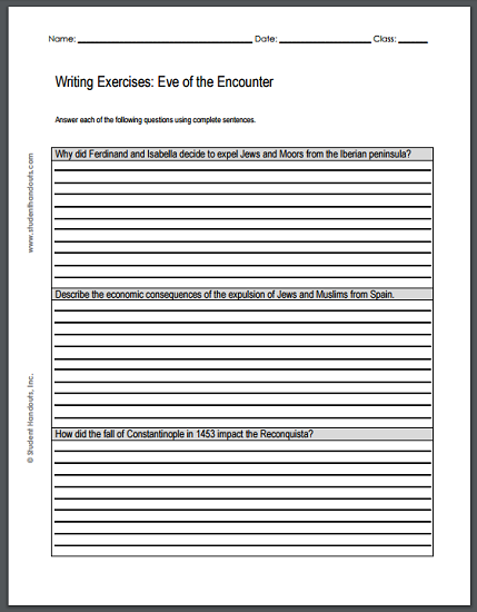 Eve of the Encounter Writing Exercises - Free to print (PDF file) for grades 9-12.