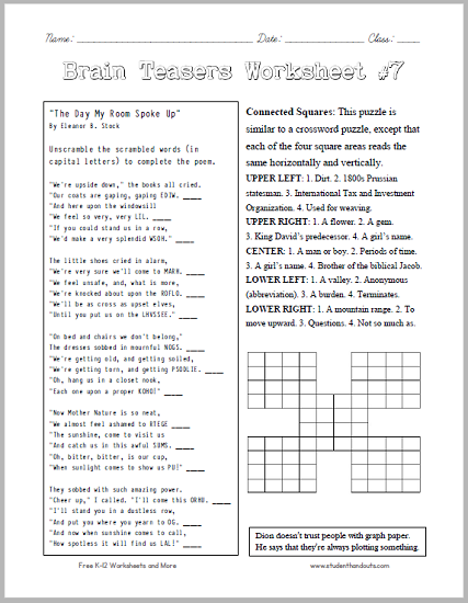 It's just an image of Accomplished Printable Brain Teasers for Middle School