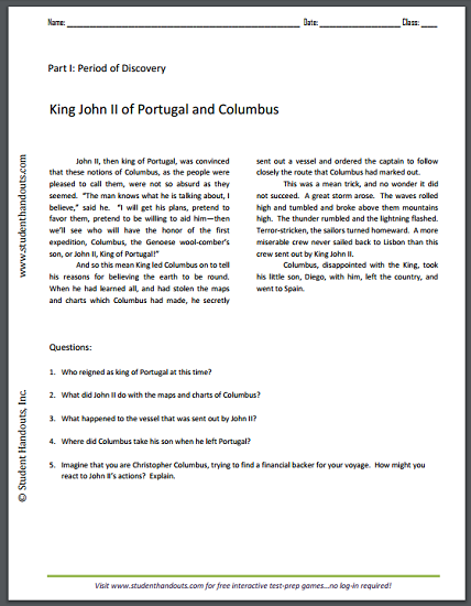 King John II of Portugal and Columbus - Reading with questions for upper elementary students. Free to print (PDF file).