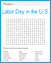 Labor Day in the U.S. Word Search Puzzle