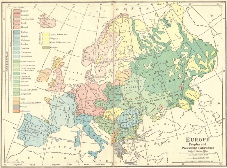 Map of European Language and Ethnic Groups | Student Handouts