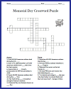 Memorial Day Crossword Puzzle