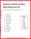 Modern World Leaders Matching Quiz #2