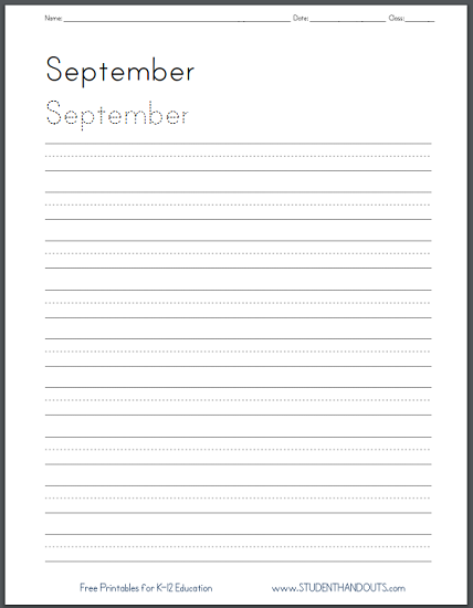 Months of the Year Handwriting Practice Worksheets - Print or cursive. Free printable PDF files.