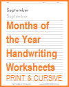 Months of the Year Writing Practice Worksheets