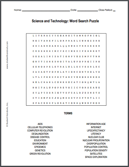 image regarding Printable Technology named Science and Technological know-how Term Glance Puzzle College student Handouts