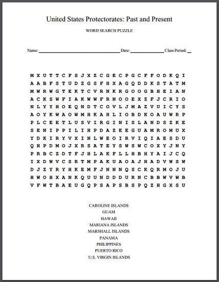 United States Protectorates: Past and Present - Free printable word search puzzle worksheet.