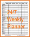 24-7 Weekly Planner Calendar Sheet