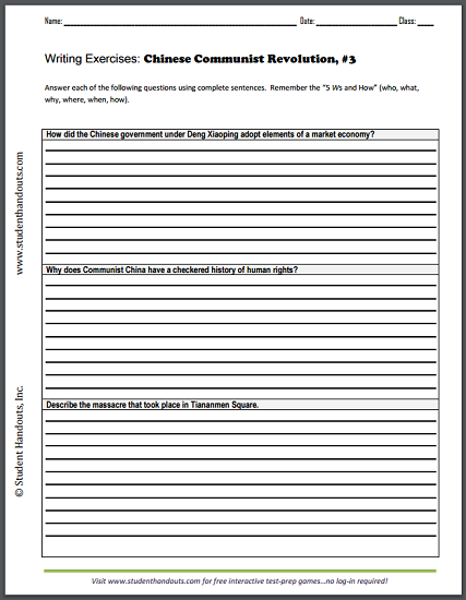 chinese revolution essay questions sheet 3 student handouts. Black Bedroom Furniture Sets. Home Design Ideas