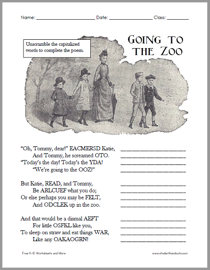 """Going to the Zoo"" Poem Unscramble Worksheet - Free to print (PDF file)."