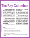 """The Boy Columbus"" reading with questions for upper elementary students."