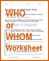 Who or Whom Grammar Worksheet