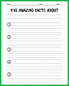 Five Facts Recall Worksheet for an Expository Text