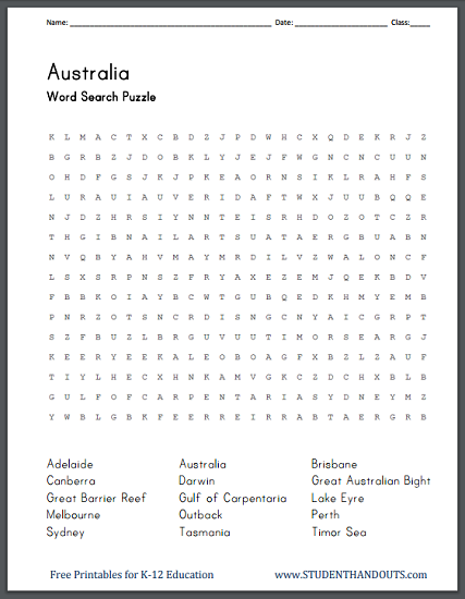 Australiau0026#39;s Geography - Word Search Puzzle : Student Handouts