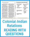 Colonial-Indian Relations Reading with Questions Worksheet