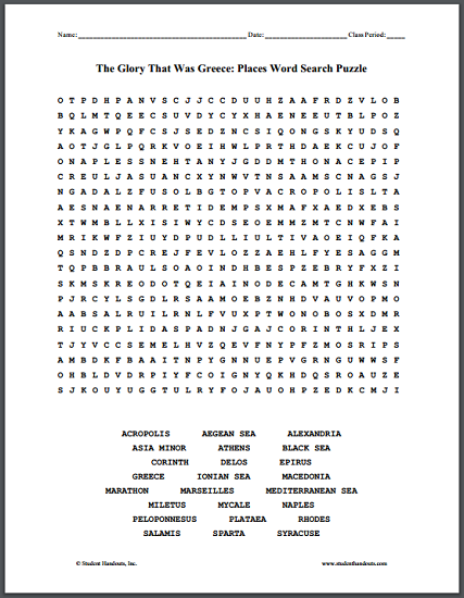 The Glory That Was Greece: Places - Word Search Puzzle
