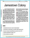 Jamestown Colony Reading Worksheet with Questions