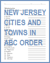 New Jersey Cities and Towns in ABC Order Worksheet for Kids