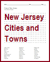 New Jersey Cities and Towns Word Search Puzzle