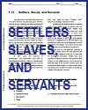 Settlers, Slaves. and Servants Reading with Questions