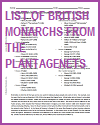 Printable List of British Monarchs from the Plantagenets