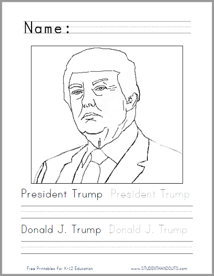 President Donald Trump Coloring Page - Free to print (PDF file).