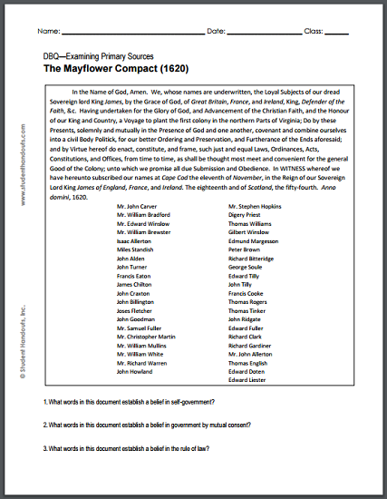 mayflower compact 1620 dbq worksheet student handouts. Black Bedroom Furniture Sets. Home Design Ideas
