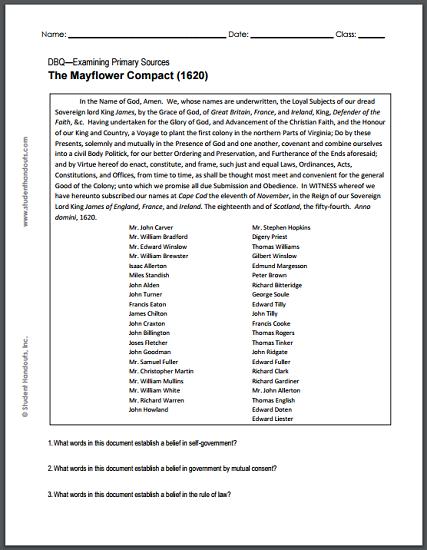 mayflower compact 1620 dbq worksheet student handouts. Black Bedroom Furniture Sets. Home Design Ideas