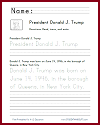 President Trump Handwriting Practice Sheet