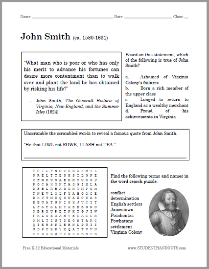 John Smith Bellwork Worksheet - Free to print (PDF file) for United States History students.