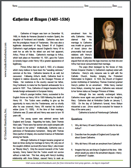 Catherine of Aragon (1485-1536) - Biography worksheet for high school World History or European History. Free to print (PDF file).