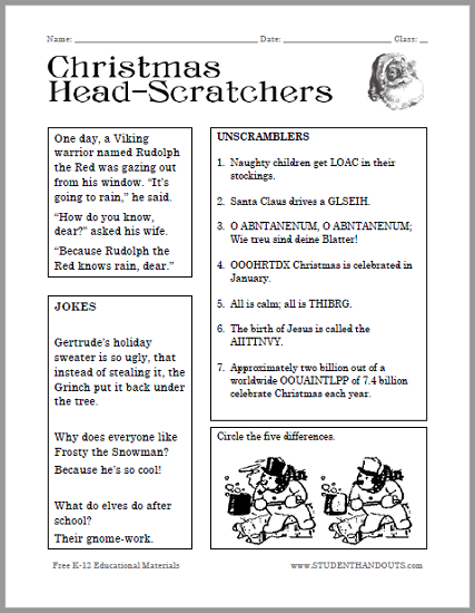 Christmas Head-scratchers Worksheet for Kids