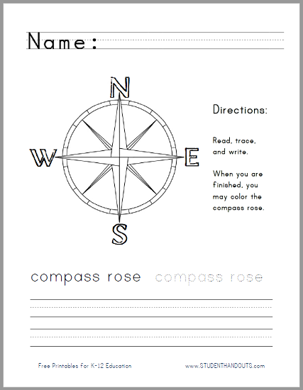 Compass Activity Worksheet: pass rose handwriting and coloring worksheet student handouts,