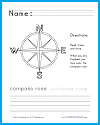 Compass Rose Writing and Coloring Worksheet