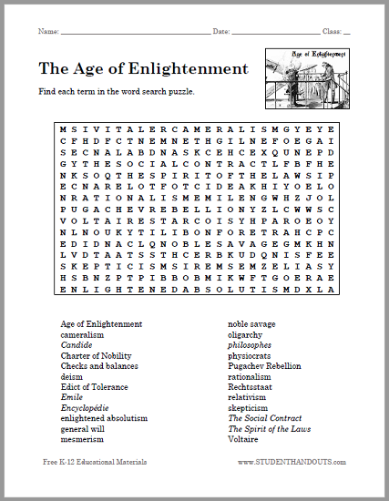 the age of enlightenment word search puzzle free to print pdf file. Black Bedroom Furniture Sets. Home Design Ideas