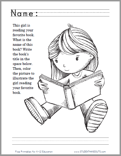Girl Reading Your Favorite Story Coloring Page Worksheet