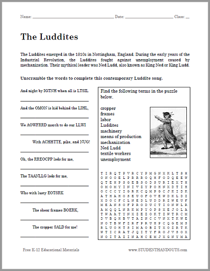 The Luddites Bellwork Handout - Free to print (PDF file) for high school World History students.
