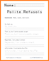 Polite Refusals Handwriting Worksheet in Print or Cursive
