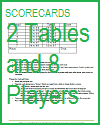 Progressive Game Tally Sheet for Two Tables and Eight Players