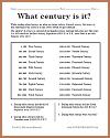 What century is it? Worksheet