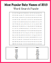 Most Popular Baby Names of 2010 Word Search Puzzle